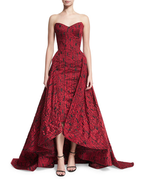 Strapless Jacquard Midi Gown w/Overskirt, Red