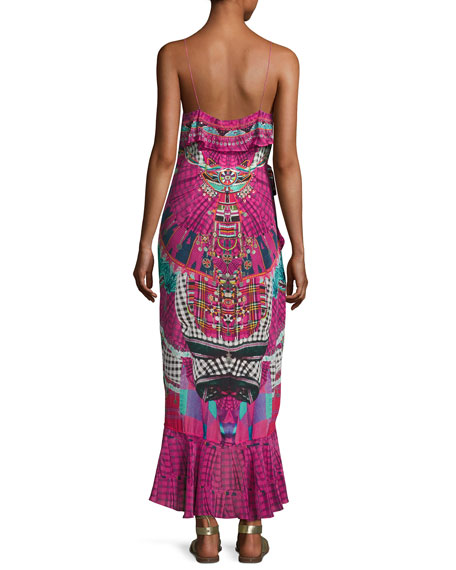 Embellished Crepe Ruffle Maxi Wrap Dress, Desert Discotheque