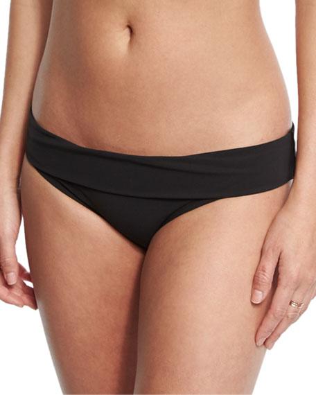 Heidi Klein Oslo Fold-Over Solid Swim Bottom, Black