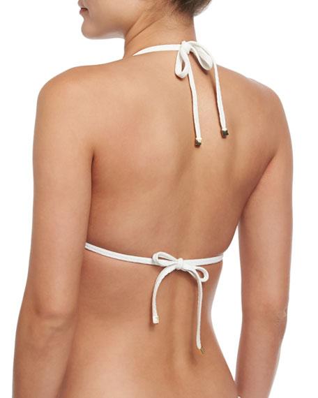 Ostuni Scalloped Halter Swim Top, White