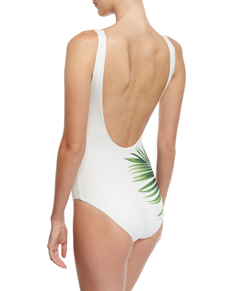 Kelly Tropical Leaf-Print One-Piece Swimsuit, White