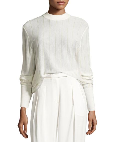 Long-Sleeve Pinstripe Wool-Blend Sweater, Gesso