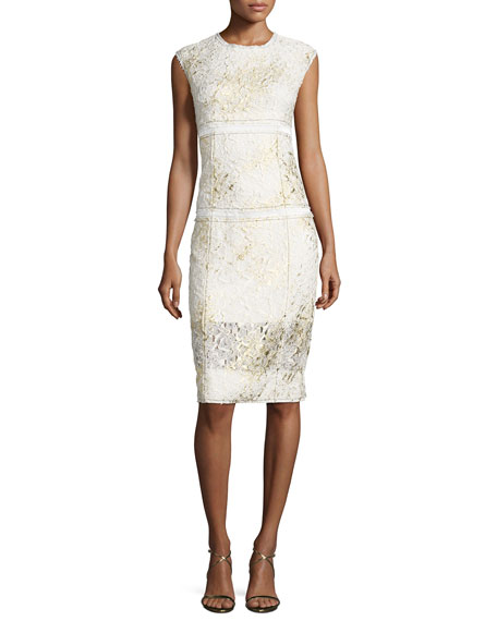 DKNY Sleeveless Mixed-Media Sheath Dress, Gesso