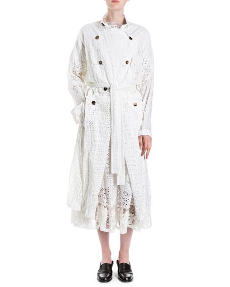 Cotton Eyelet Trenchcoat, White