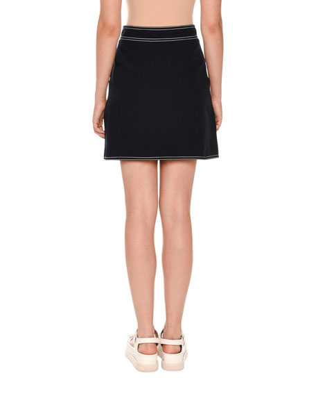 Topstitched Sailor Mini Skirt, Navy