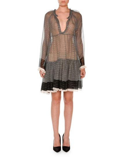 Long-Sleeve Boho Peasant Dress