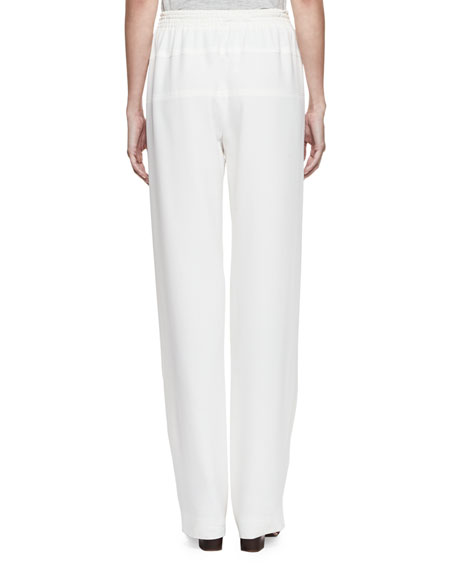 Drawstring-Waist Relaxed Trousers, Milk