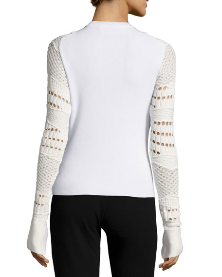 Crocheted-Sleeve Knit Sweater, Ivory
