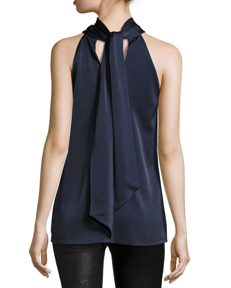 Satin Tie-Neck Sleeveless Top, Navy
