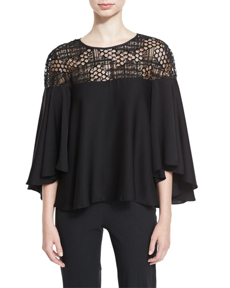 Angie Relaxed Sequined Tulle-Yoke Top, Black