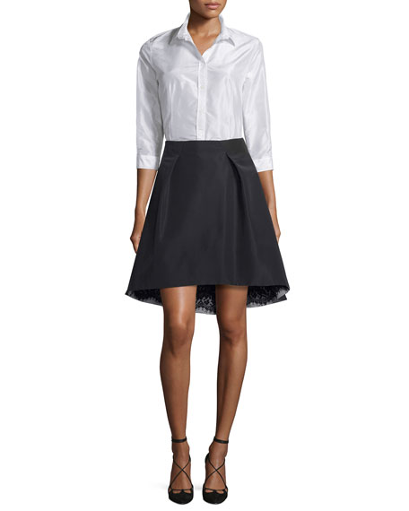 Taffeta 3/4-Sleeve Blouse, White