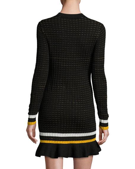 Long-Sleeve Cotton Crochet Mini Dress, Black