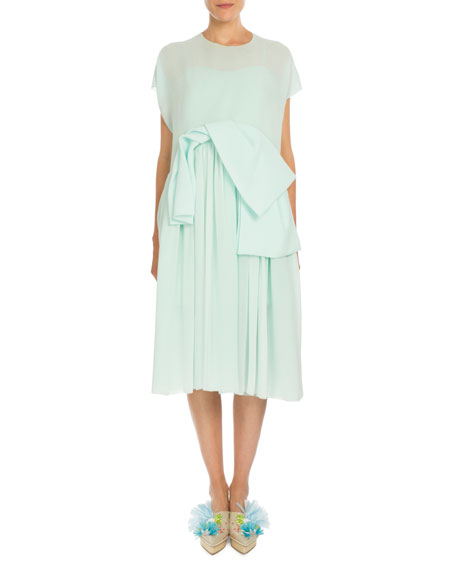 Delpozo Short-Sleeve Chiffon Overlay Dress, Mint