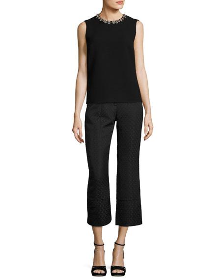 Verity Cropped Jacquard Pants, Black