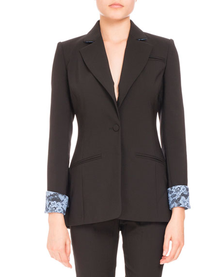 Altuzarra Single-Button Lace-Trim Blazer, Black/Blue Lace