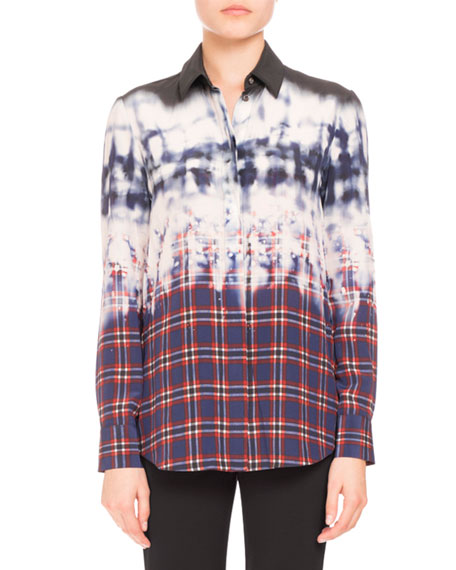 Degrade Tie-Dye Plaid Blouse, Navy