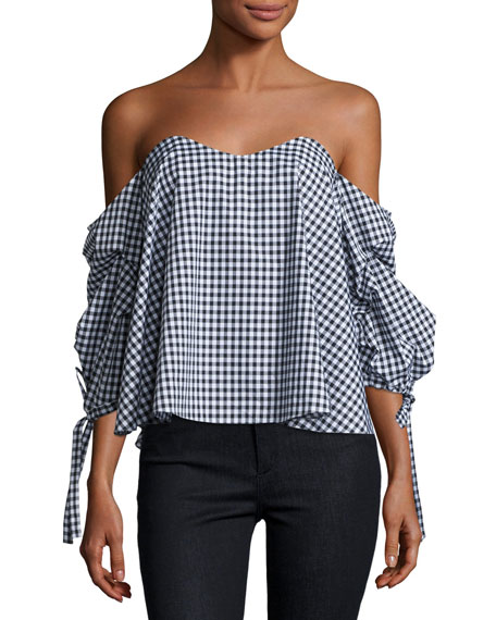 Gabriella Off-The-Shoulder Gingham Bustier Top, Black/White