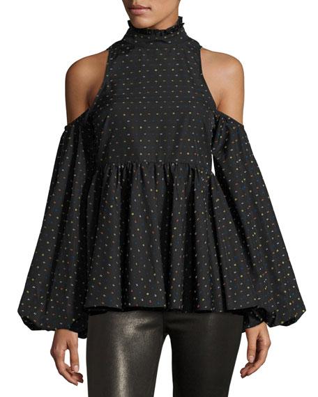 Caroline Constas Printed Cold-Shoulder Blouse, Multi