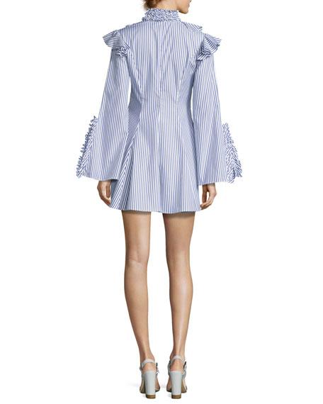 Micki Choker-Collar V-Neck Ruffle-Trim Dress, Blue/White Stripe
