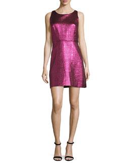 Sleeveless Lurex® Jacquard A-Line Dress, Fuchsia