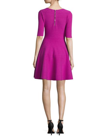 Half-Sleeve V-Neck Fit-&-Flare Dress