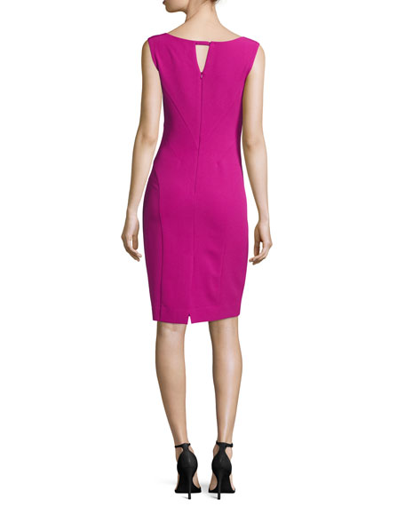 Sleeveless Split V-Neck Sheath Dress, Fuchsia