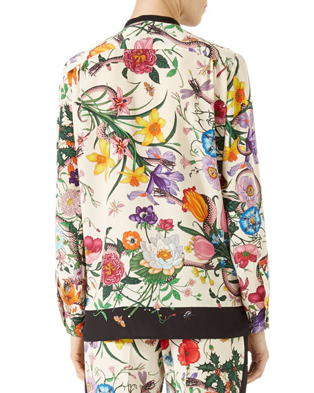 a41710320 Gucci Flora Snake-Print Silk Shirt, Multicolor