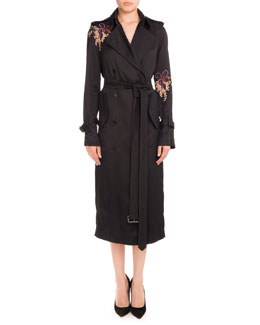 Floral-Embroidered Double-Breasted Trenchcoat, Black Orchid