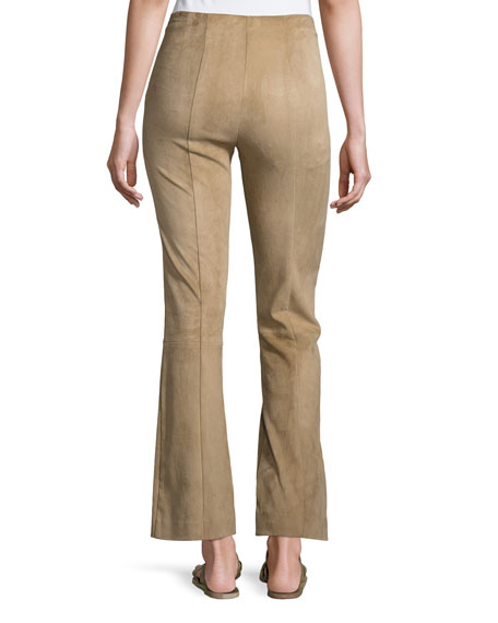 Beca Seamed Suede Pants, Sand