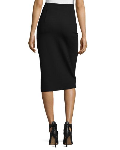 Rabina Scuba Pencil Midi Skirt, Black