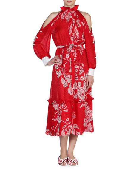 Fendi Floral Cold-Shoulder Ruffled-Neck Dress