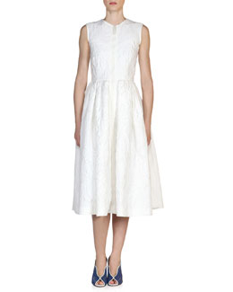 Sleeveless Zip-Front Matelasse Dress, White