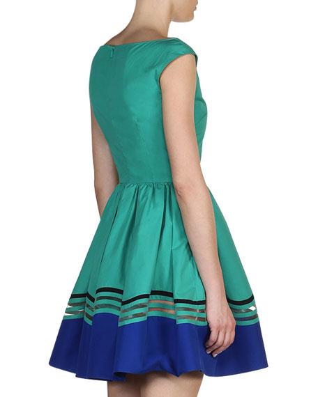 Scoop-Neck Wave Cotton Dress, Aqua Blue