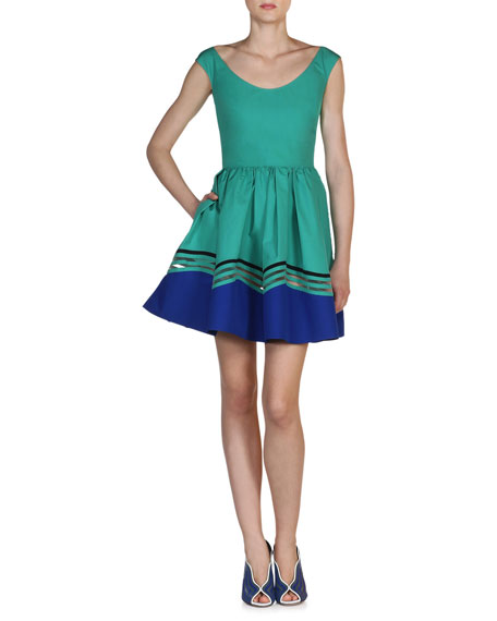 Fendi Scoop-Neck Wave Cotton Dress, Aqua Blue