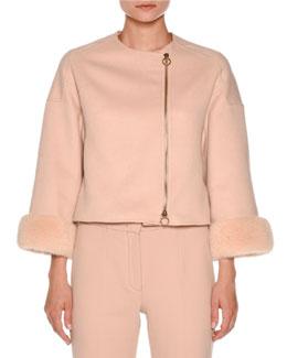 Mink-Cuff Asymmetric-Zip Short Jacket, Nude White
