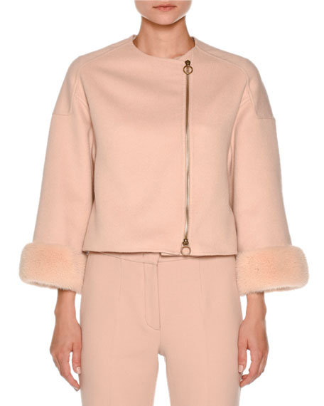 Mink-Cuff Asymmetric-Zip Short Jacket, Nude White