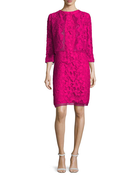 Floral Corded Lace Sheath Dress