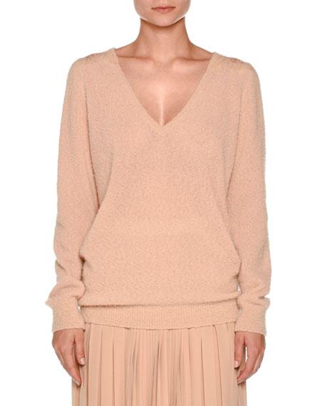 Lace-Yoke V-Neck Boucle Sweater, Taupe