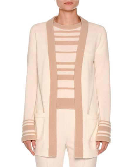 Striped-Cuff Boucle Cardigan