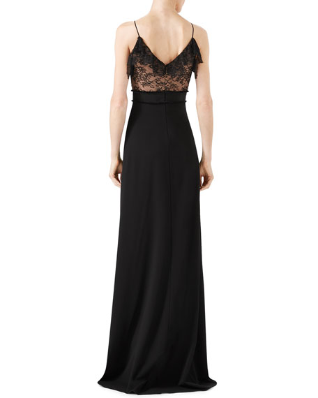 Viscose Jersey & Lace Gown, Black