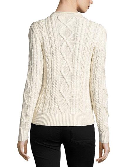 Aran-Knit Silk-Cashmere Sweater, Cream