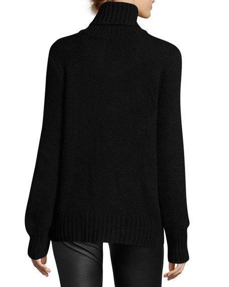 Cashmere-Mohair Turtleneck Sweater, Black