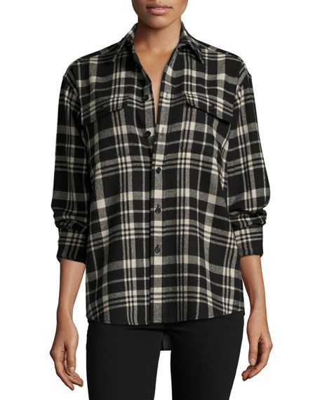Cooper Wool-Cashmere Shirt, Black/White