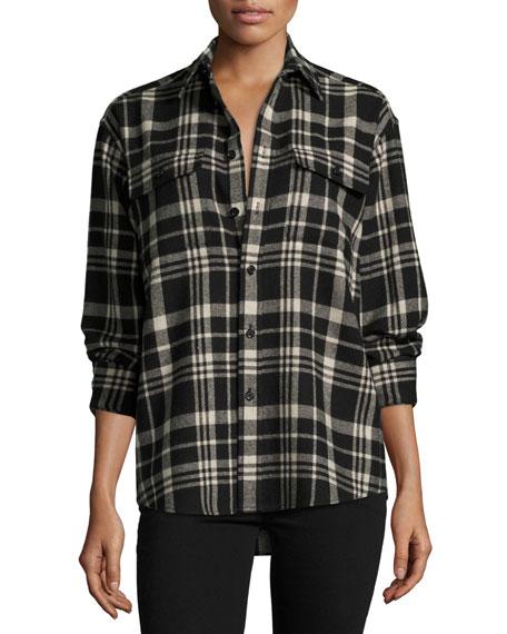 Cooper Wool-Cashmere Shirt, Black/White