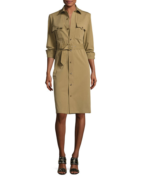 Ralph Lauren Collection Bi-Stretch Cotton Gabardine Shirtdress,