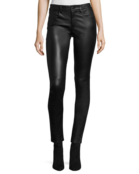 Stretch Leather 400 Jeans, Black
