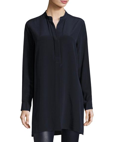 Joseph Dara Long-Sleeve Silk Blouse, Navy