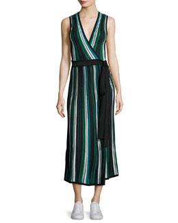 Cadenza Metallic Striped Sleeveless Wrap Dress