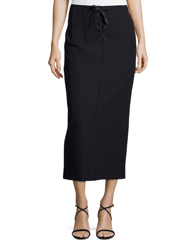 Jasper Lace-Up Scuba Pencil Midi Skirt
