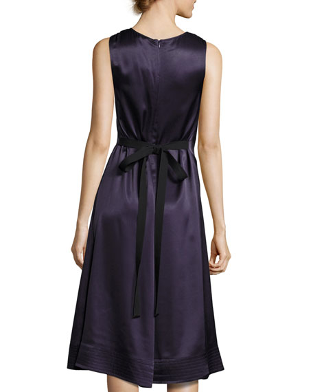 Brandon Sleeveless Satin Swing Dress, Marine